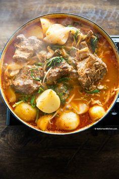 Gamjatang (Pork Bone Soup) Gamjatang (Pork Bone Soup) – My Korean Kitchen Pork Recipes, Asian Recipes, Cooking Recipes, Korean Soup Recipes, Korean Beef Soup Recipe, Easy Japanese Recipes, Pork Bone Soup, Korean Kitchen, Healthy Meals
