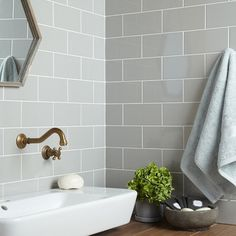 Central black ceramic wall tiles with a gloss (flat gloss) finish 100 x 200 x Grey Bathroom Wall Tiles, Light Grey Bathrooms, Brick Bathroom, Light Grey Kitchens, Grey Floor Tiles, Grey Flooring, Bathroom Inspo, Washroom, Small Bathroom