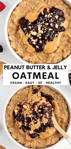 This peanut butter and jelly oatmeal recipe is an easy, quick, and healthy breakfast! It's vegan, dairy-free, gluten-free, and tastes just like a PB&J sandwich. The one pot recipe is thick, creamy, and made in just 10 minutes. Great for kids and adults! #oatmeal #peanutbutterandjelly #pbandj #oats #peanutbutter #vegan #healthybreakfast #porridge #veganbreakfast #glutenfree Oatmeal Recipes, Healthy Breakfast Recipes, Clean Eating Recipes, Brunch Recipes, Dessert Recipes, Breakfast Ideas, Clean Breakfast, Healthy Breakfasts, Peanut Butter Roll