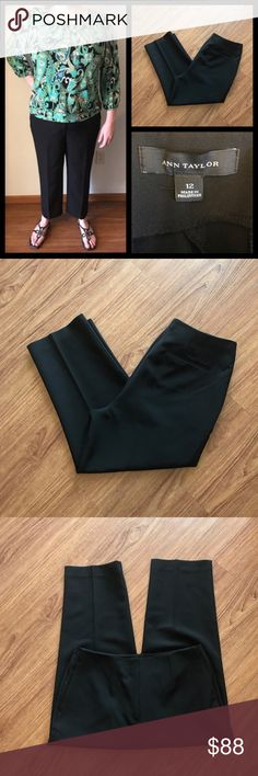 """Ann Taylor Black Trouser Pants 12 NEW without tag 📦Same day shipping if P.O. Open ❤ Measurements approximate. Descriptions accurate to the best of my knowledge  Chic black trousers from Ann Taylor are a classic work week staple. Material: 92% polyester, 8% spandex. 4 total pockets: all are currently sewn closed but can be made functional. 2 metal clasp with zipper closure + 1 internal button. Flat measurements: 17"""" across waist, 13"""" rise, 25"""" inseam, 8.75"""" leg opening. Smoke/pet free home…"""