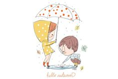 Find Boy Girl Love Cards Theme Autumn stock images in HD and millions of other royalty-free stock photos, illustrations and vectors in the Shutterstock collection. Cute Doodle Art, Cute Doodles, Cute Art, Boy And Girl Drawing, Drawing For Kids, Couple Illustration, Graphic Illustration, Autumn Illustration, Doodles Bonitos