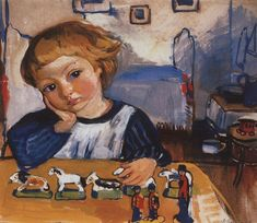 Portrait of Eugene Serebryakov Artist: Zinaida Serebriakova Completion Date: 1909 Style: Art Nouveau (Modern) Genre: portrait Tags: childre...