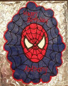 Spiderman Pull Apart Cupcake Birthday Cake - 47 cupcakes used in this design.