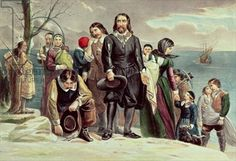The Landing of the Pilgrims at Plymouth, Massachusetts, December 22nd 1620 published by Currier & Ives (colour litho) (see also 97927)