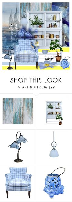"""""""White & Blue with a pinch of Yellow"""" by nicolevalents ❤ liked on Polyvore featuring interior, interiors, interior design, home, home decor, interior decorating, Dale Tiffany, Yosemite Home Décor and Design Imports"""