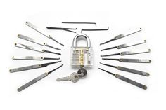 Transparent Practice Lock + 12 Piece Lock Pick Set Key Extractor