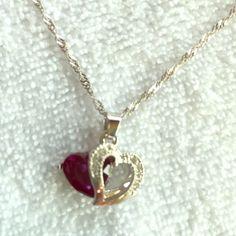 Purple gem heart necklace silver chain Purple gem heart necklace, new, silver chain. Jewelry Necklaces