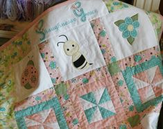 Items similar to Custom made Personalized Baby Girl Applique Quilt on Etsy