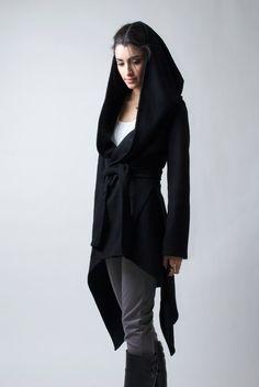 Black Coat with a Hood / Asymmetrical Hoody Cardigan / Sweater Jacket / Oversize Designer Coat / Asymmetric Jacket / marcellamoda - MC075 by marcellamoda on Etsy https://www.etsy.com/listing/171273322/black-coat-with-a-hood-asymmetrical
