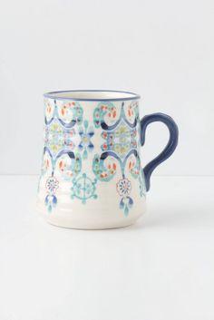 Swirled Symmetry Mug by Anthropologie in Blue Motif Size: Mug/cup Mugs from Anthropologie. Saved to future house gear. Cute Coffee Mugs, Cute Mugs, I Love Coffee, My Coffee, Coffee Cups, Pretty Mugs, Large Coffee Mugs, Morning Coffee, Stars Disney