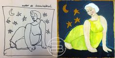 Sketch and painting of 'woman between the stars' ✨. - Schets en schilderij van 'Vrouw tussen de sterren'. #art #dutchart #painting #kunst #schilderij  #picasso #matisse #klimt