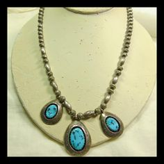 Navajo Sterling Silver and Turquoise Bench Bead Necklace with 3 from lantiques on Ruby Lane