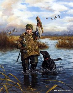 A young hunter used his duck call to find the duck, his gun to hunt the duck and his dog to find the duck. This is an artist proof print and is available unframed in s Hunting Art, Duck Hunting, Hunting Dogs, Hunting Crafts, Hunting Stuff, Wildlife Paintings, Dog Paintings, Wildlife Art, Hunting Drawings