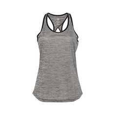 Adidas Heather grey teardrop-cutout tank ($26) ❤ liked on Polyvore featuring activewear, activewear tops, tops, adidas, adidas sportswear, adidas jerseys and adidas activewear