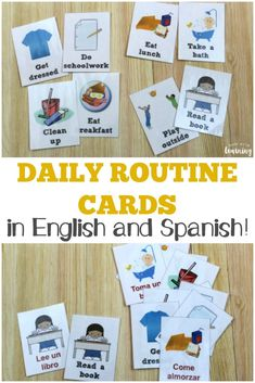Pick up these free daily routine cards for kids in both English and Spanish! These are perfect for helping early learners establish a routine for preschool, homeschool preschool, or afterschool care! Preschool Spanish, Learning Spanish For Kids, Spanish Lessons For Kids, Spanish Basics, Spanish Activities, Teaching Spanish, French Lessons, Spanish Class, Vocabulary Activities