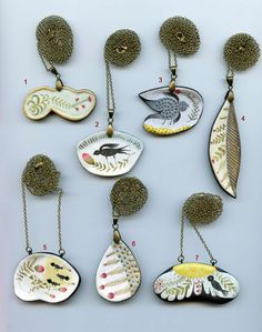 Paperclay necklaces by Elsa Mora collection 1  Paper clay pendants by Elsa Mora
