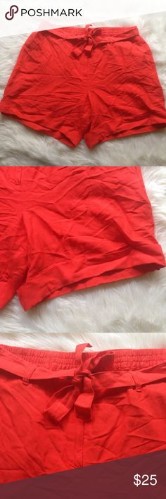 """Lane Bryant Orange Linen Blend Cuffed Shorts 18 20 Lane Bryant Orange Linen Blend Cuffed Shorts 18 20 Waist: 40"""" Rise: 12"""" Inseam: 19""""  Please ask questions before you buy, thanks! Lane Bryant Shorts"""