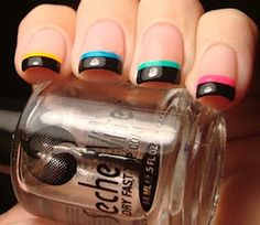 Neon and black french tip nails