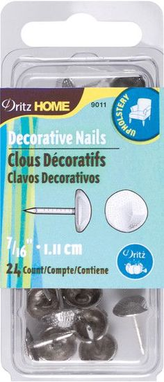 "upholstery decorative nails 7/16"" 24/pkg-nickel"