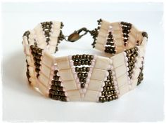 Pink, Brown and Cream Tila Beaded Bracelet.
