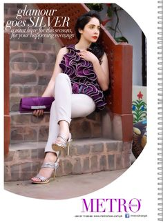 www.metroshoes.com.pk. Glamour goes silver. Juggan Kazim wearing golden high heels carrying purple clutch. Footwear that fit best with jeans and tights. A must have for this season for your happening evenings.