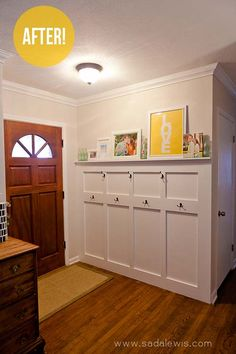 in narrow entryway - skip the shelf/bench portion and just use a ledge for art and hooks for necessities.  Add in some sort of short-drop ORB fixture and a front door swap with a larger window --or maybe go nuts and increase the height of the door frame and add a transom!