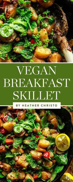 Vegan breakfast skillet by Heather Christo. #veganbreakfastskillet #breakfastskillet #vegan #veganrecipes #veganskilletmeals