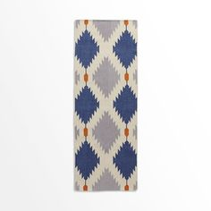 Replacement for basement rug? Phoenix Wool Dhurrie Rug, Regal Blue, 2.5'x7'