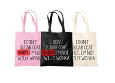 Rude Shopping Bag Willy Wonka Offensive Bag Same by TheHenCompany