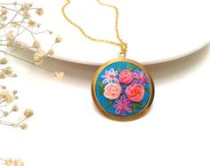 Forget me not hand embroidered pendant necklace by ConeBomBom