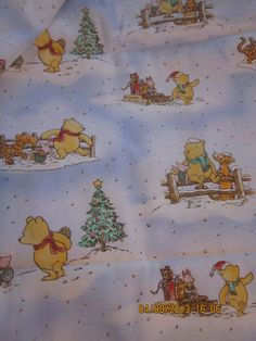 Classic Pooh 0249 Christmas Fabric with Pooh, Piglet, and Tigger in a Snowy Forest by WhimseysByAnne, $8.00