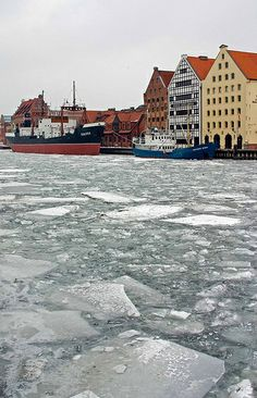 The Frozen Motława River in Gdańsk, Poland Places Around The World, Around The Worlds, Poland Country, Gdansk Poland, Visit Poland, Central And Eastern Europe, Historical Monuments, Barcelona Travel, Spain And Portugal