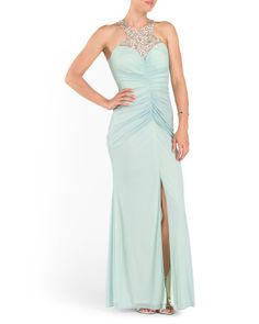 Ruched Embellished Prom Gown