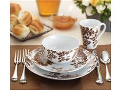Coffee Bean 16-pc. Tatnall Street Dinnerware Set by Paula Deen at Cooking.com