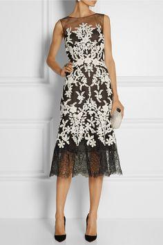 Oscar de la Renta|Embellished embroidered tulle midi dress|NET-A-PORTER.COM