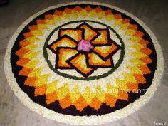 50 Best Pookalam Rangoli Designs Latest, Rangoli Designs Diwali, Beautiful Rangoli Designs, Kolam Designs, Welcome Home Decorations, Flower Decorations, Onam Pookalam Design, Onam Festival, Flower Garland Wedding