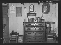 Interior of William Ballou's log cabin near Marseilles, Illinois