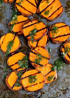 20 Delicious Vegetarian BBQ Ideas | Grilled Sweet Potatoes with Cilantro Vinaigrette