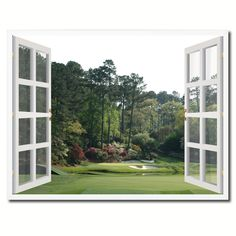 Masters Hole Augusta Picture French Window Framed Canvas Print Home Decor Wall Art Collection