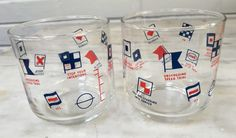 vintage ENCO Gas glasses, set of 2, cocktail glasses, barware, nautical, maritime, 1960s by MotherMuse on Etsy
