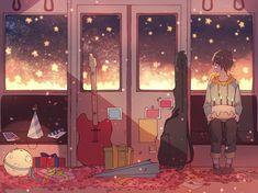 Kawaii Drawings, Cute Drawings, Pretty Art, Cute Art, Aesthetic Art, Aesthetic Anime, Arte Copic, Anime Scenery, Art Inspo
