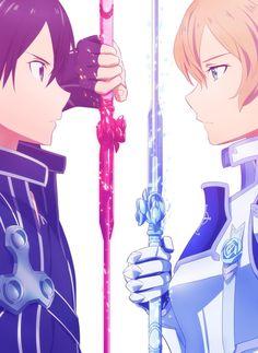 Kirito and Eugeo - Sword art online Kirito Sword, Kirito Asuna, Arte Online, Online Art, Sao Anime, Manga Anime, Eugeo Sword Art Online, Sword Art Online Manga, Sword Art Online Wallpaper