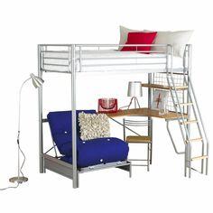 teen girls loft bed with desk