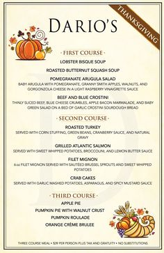 Image result for dario's steakhouse thanksgiving menu