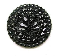 Antique Black Glass Button Fancy Floral Design   eBay