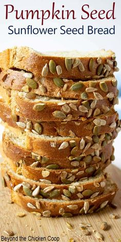 Pumpkin and Sunflower Seed Bread - a delicious loaf of homemade bread made with whole wheat flour and pumpkin and sunflower seeds. Roasted Pumpkin Seeds, Baked Pumpkin, Pumpkin Bread, Cinnamon Bread, Sunflower Seed Bread Recipe, Sunflower Seeds, Bagels, Tortillas, Pumpkin Seed Recipes