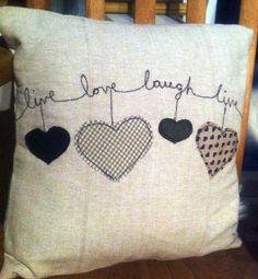 Embroidered applique cushions - love, home is where the heart is, valentine £15.00