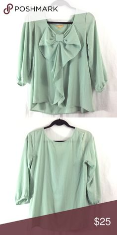 Takara mint green bow top Great condition. Bundle 3+ from me and save 15%, only pay shipping ONCE, and get a FREE gift! :) Takara Tops