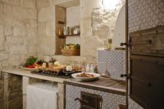 Sicilian kitchen in Le Chiuse di Guadagna farmhouse near Scicli, Sicily