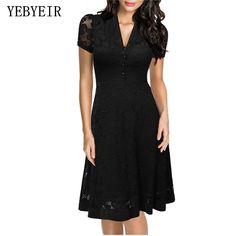 [US $20.60] & YEBYEIR Summer Lace UK Elegant Black Sexy Casual Dresses  #black #casual #dresses #elegant #lace #sexy #summer #yebyeir